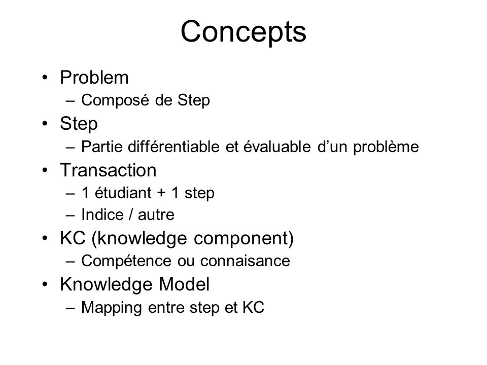 Concepts Problem –Composé de Step Step –Partie différentiable et évaluable dun problème Transaction –1 étudiant + 1 step –Indice / autre KC (knowledge component) –Compétence ou connaisance Knowledge Model –Mapping entre step et KC