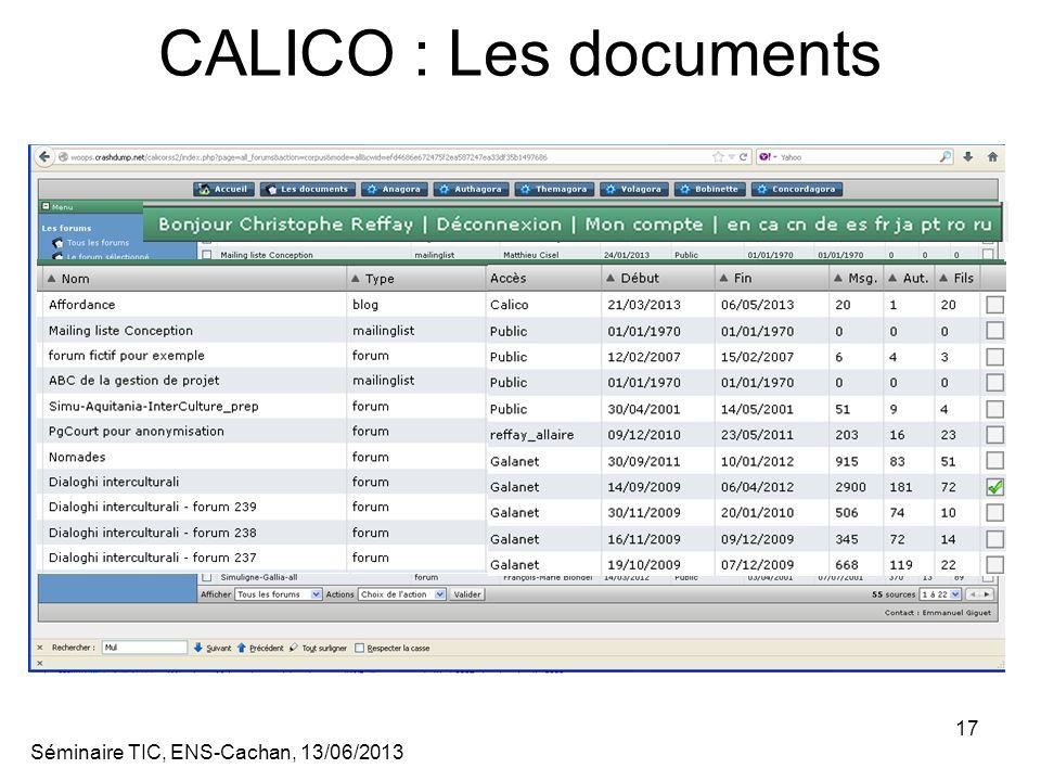 Séminaire TIC, ENS-Cachan, 13/06/2013 17 CALICO : Les documents