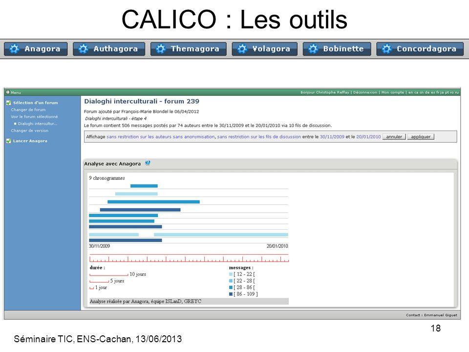 Séminaire TIC, ENS-Cachan, 13/06/2013 18 CALICO : Les outils