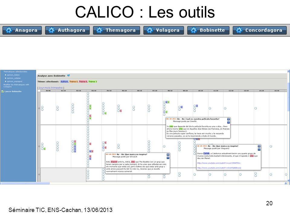 Séminaire TIC, ENS-Cachan, 13/06/2013 20 CALICO : Les outils