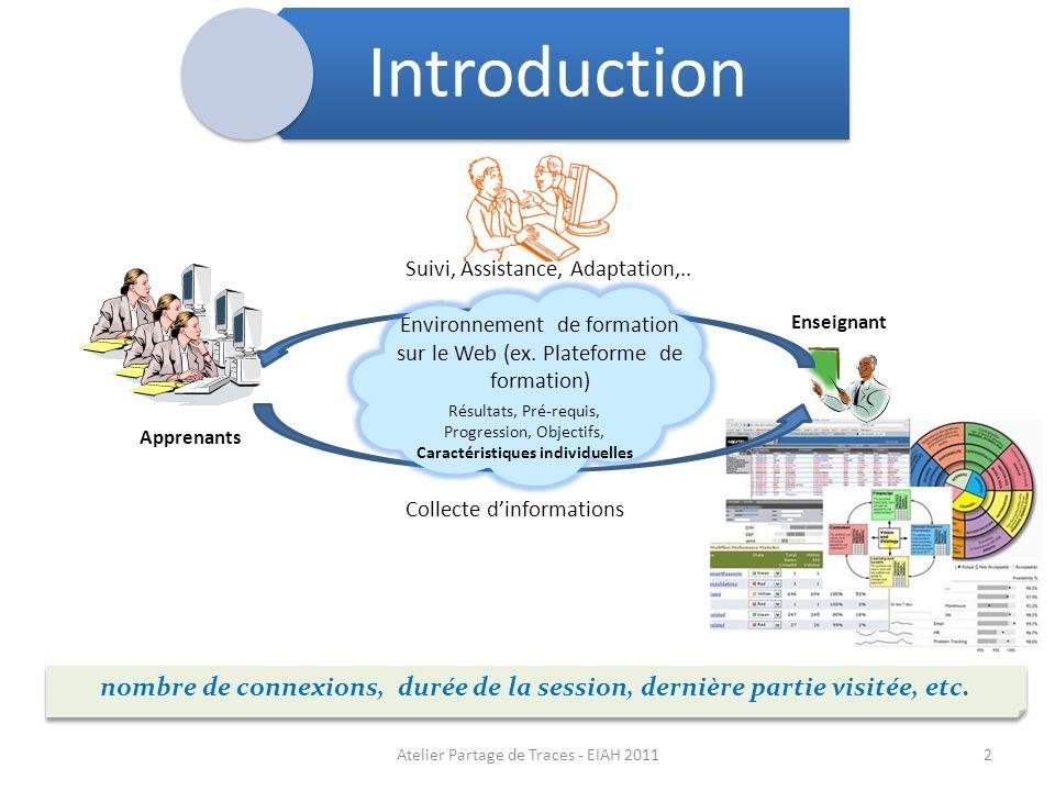 Apprenants Enseignant Collecte dinformations Suivi, Assistance, Adaptation,.. nombre de connexions, durée de la session, dernière partie visitée, etc.