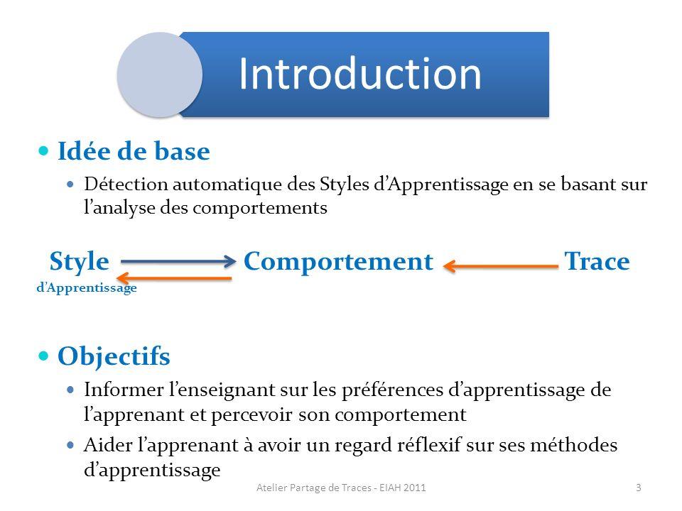 3 Idée de base Détection automatique des Styles dApprentissage en se basant sur lanalyse des comportements Style Comportement Trace dApprentissage Obj