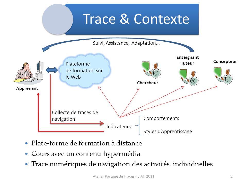 Apprenant Enseignant Tuteur Plateforme de formation sur le Web Collecte de traces de navigation Suivi, Assistance, Adaptation,.. Indicateurs Comportem