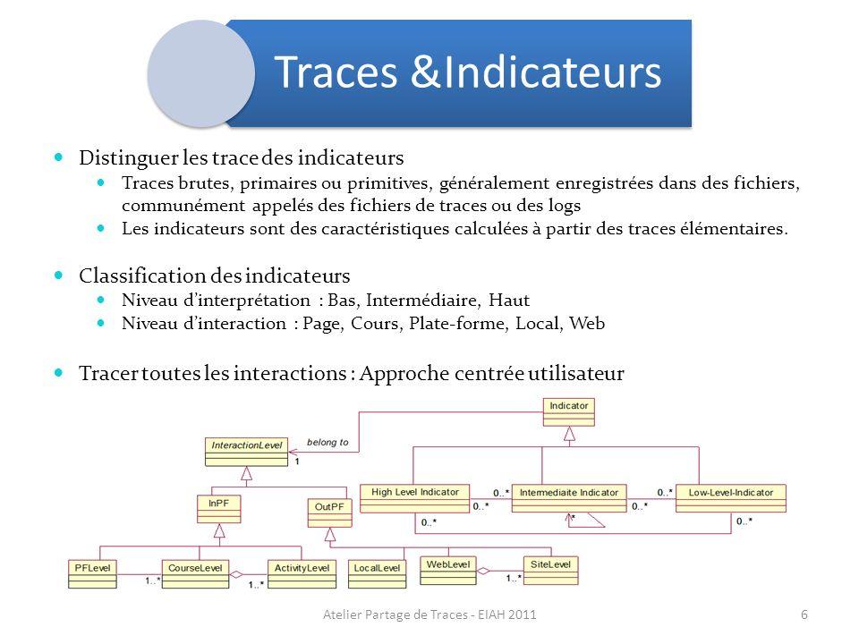 Traces &Indicateurs Distinguer les trace des indicateurs Traces brutes, primaires ou primitives, généralement enregistrées dans des fichiers, communém