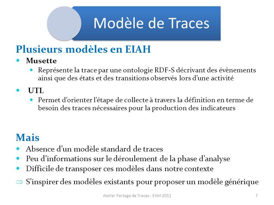 Plusieurs modèles en EIAH Musette Représente la trace par une ontologie RDF-S décrivant des évènements ainsi que des états et des transitions observés