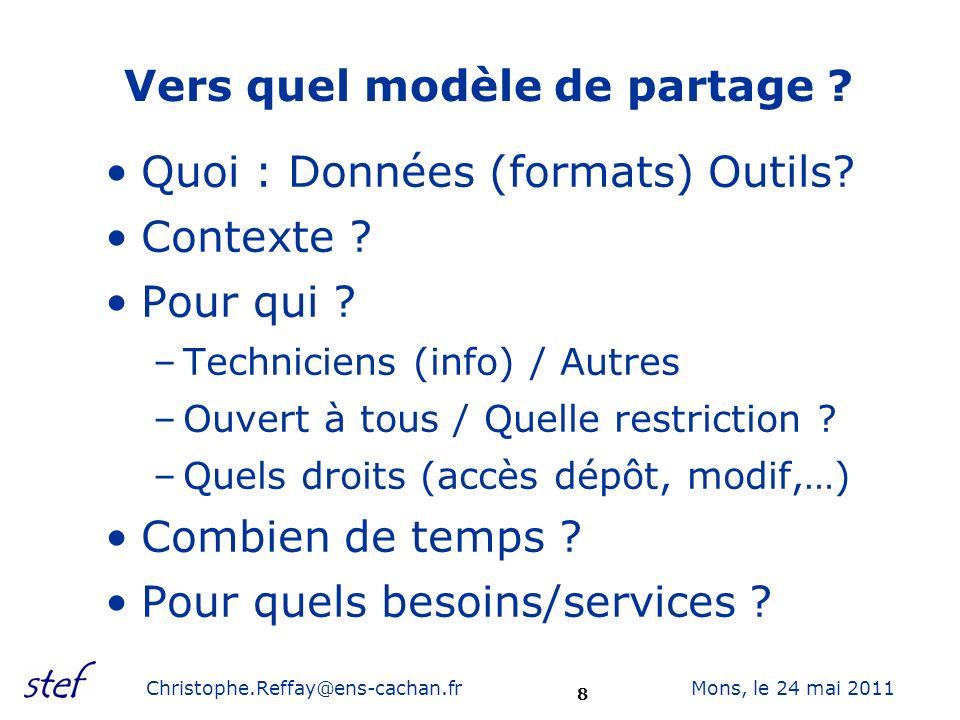 8 Mons, le 24 mai 2011Christophe.Reffay@ens-cachan.fr Vers quel modèle de partage .