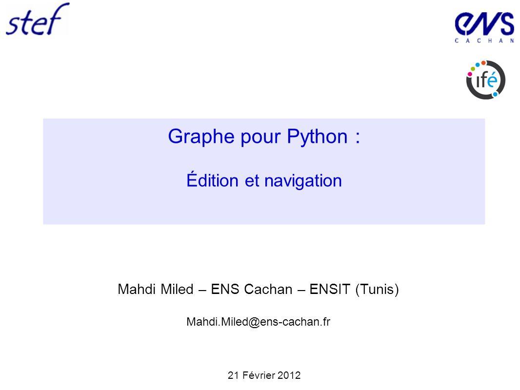 12 / 2021/02/2012Mahdi Miled Graphe pour Python : Édition et navigation (présenté par Christophe Reffay) Journée apprentissage de la programmation Utilisation de l outil JIT et visualisations La visualisation à l aide des graphes radiaux (Rgraph) permet d introduire une représentation à niveaux.