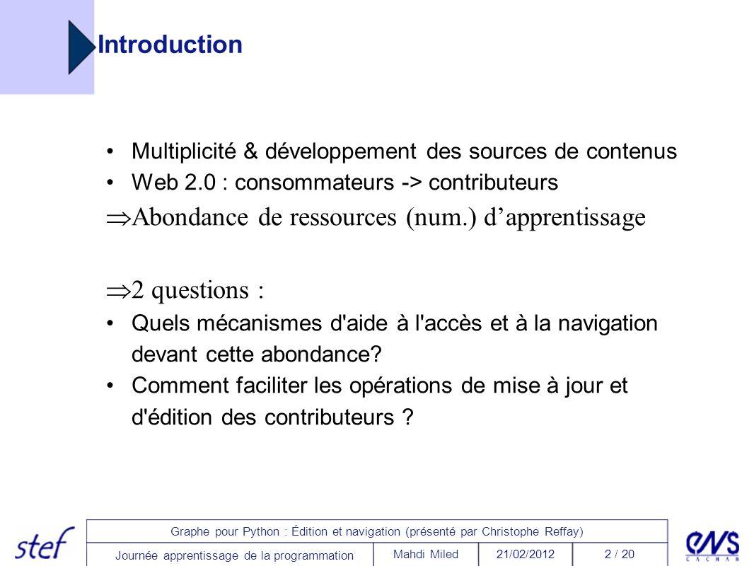 3 / 2021/02/2012Mahdi Miled Graphe pour Python : Édition et navigation (présenté par Christophe Reffay) Journée apprentissage de la programmation Environnements d accès aux ressources Où trouve-t-on les ressources et comment évoluent-elles .