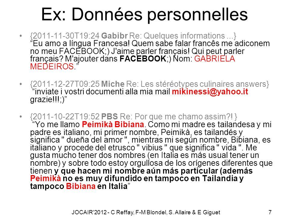 JOCAIR 2012 - C Reffay, F-M Blondel, S.