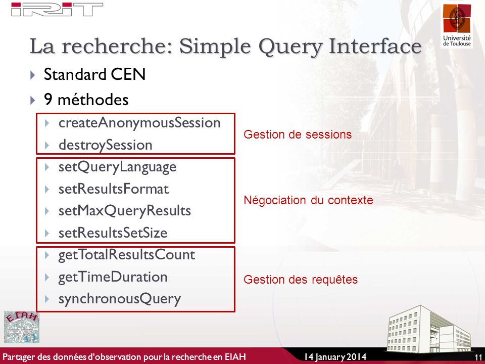 La recherche: Simple Query Interface Standard CEN 9 méthodes createAnonymousSession destroySession setQueryLanguage setResultsFormat setMaxQueryResult