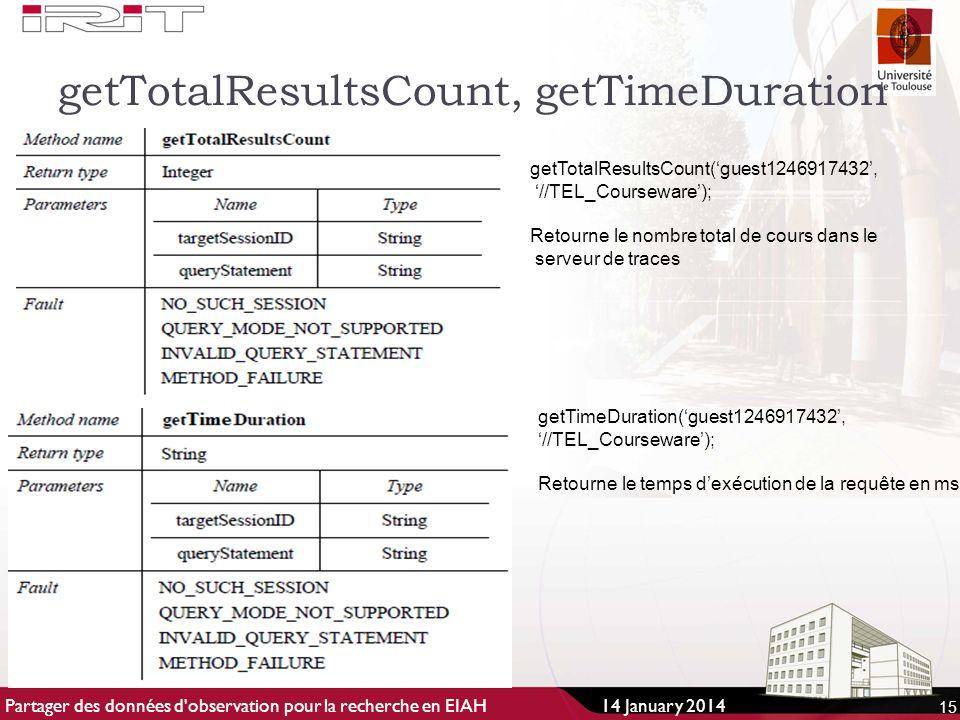 getTotalResultsCount, getTimeDuration 15 getTotalResultsCount(guest1246917432, //TEL_Courseware); Retourne le nombre total de cours dans le serveur de traces getTimeDuration(guest1246917432,//TEL_Courseware); Retourne le temps dexécution de la requête en ms 14 January 2014Partager des données d observation pour la recherche en EIAH