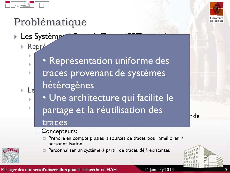 Problématique Les Systèmes à Base de Traces (SBT) actuels Représentation des traces Spécifique à chaque système Représentation plutôt simple (ex.