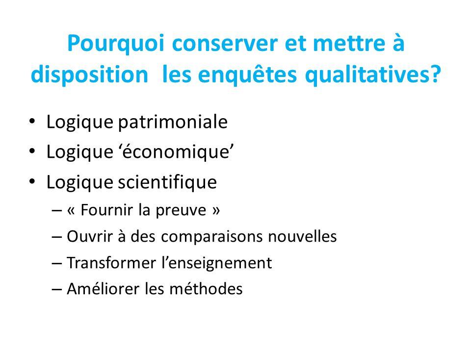 Pourquoi conserver et mettre à disposition les enquêtes qualitatives? Logique patrimoniale Logique économique Logique scientifique – « Fournir la preu