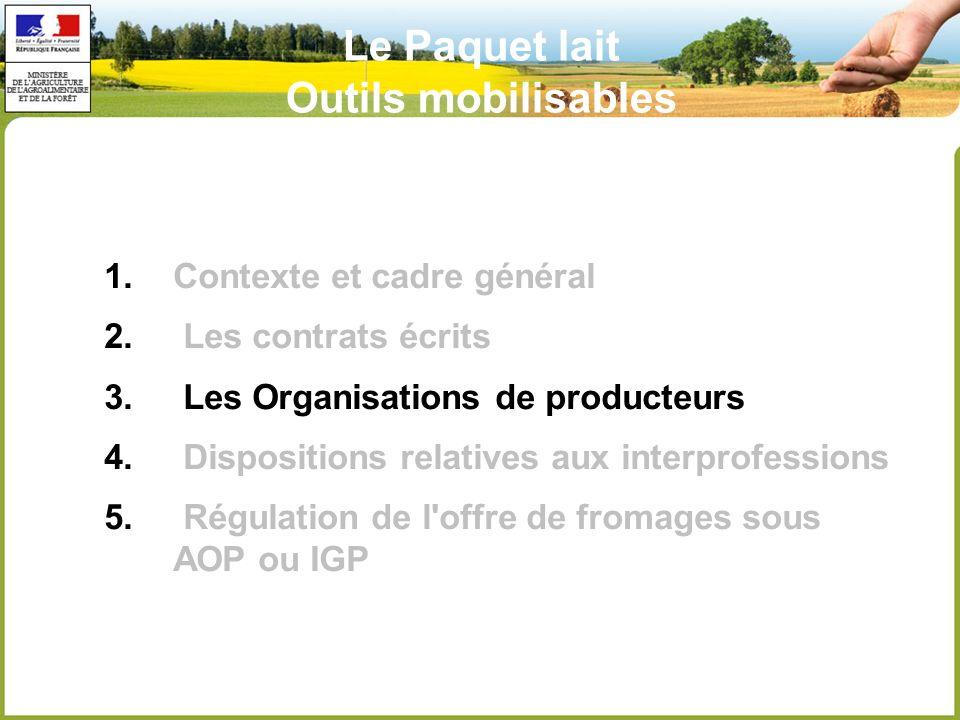 Le Paquet lait Outils mobilisables 1.Contexte et cadre général 2.