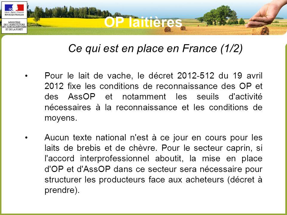 Pour le lait de vache, le décret 2012-512 du 19 avril 2012 fixe les conditions de reconnaissance des OP et des AssOP et notamment les seuils d activité nécessaires à la reconnaissance et les conditions de moyens.