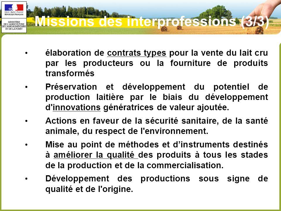 élaboration de contrats types pour la vente du lait cru par les producteurs ou la fourniture de produits transformés Préservation et développement du potentiel de production laitière par le biais du développement d innovations génératrices de valeur ajoutée.