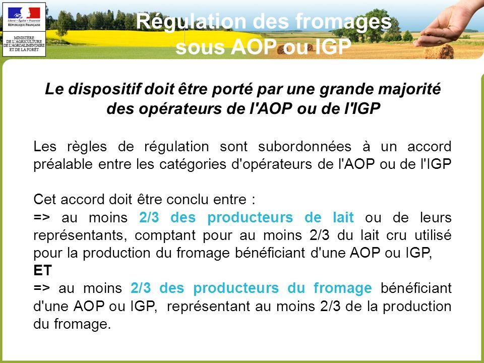 Le dispositif doit être porté par une grande majorité des opérateurs de l AOP ou de l IGP Les règles de régulation sont subordonnées à un accord préalable entre les catégories d opérateurs de l AOP ou de l IGP Cet accord doit être conclu entre : => au moins 2/3 des producteurs de lait ou de leurs représentants, comptant pour au moins 2/3 du lait cru utilisé pour la production du fromage bénéficiant d une AOP ou IGP, ET => au moins 2/3 des producteurs du fromage bénéficiant d une AOP ou IGP, représentant au moins 2/3 de la production du fromage.