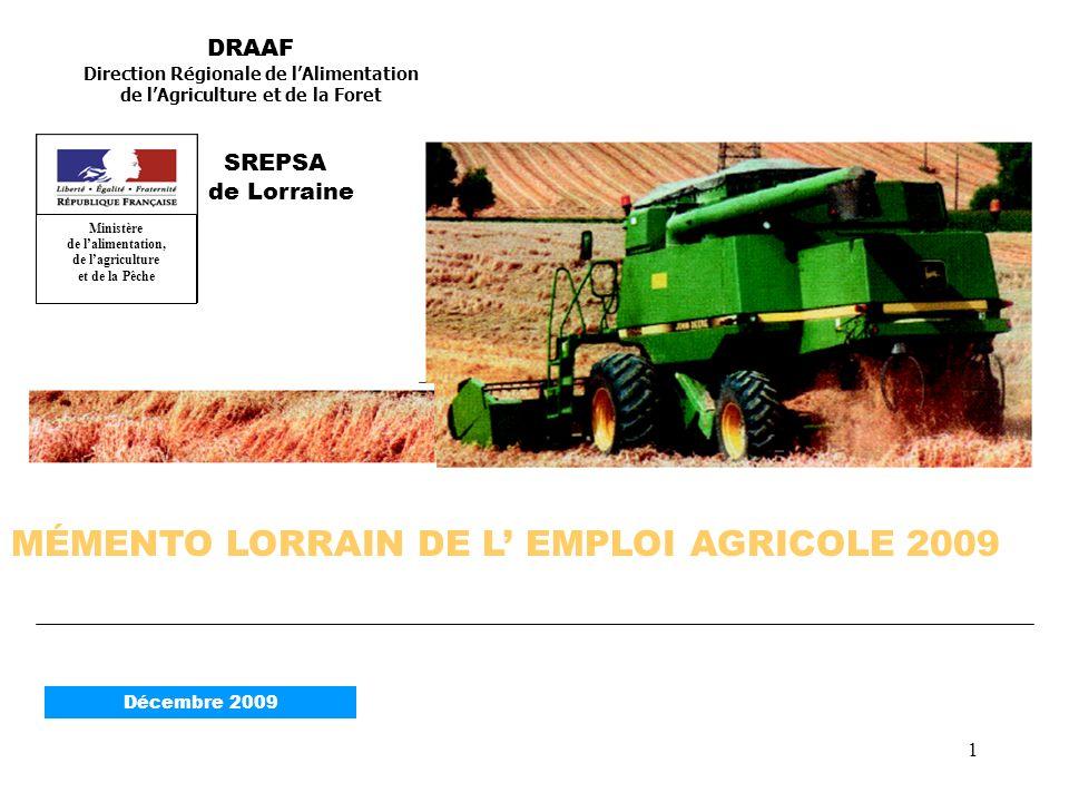 2 EFFECTIFS SALARIÉS AGRICOLES DE LORRAINE à 16 269 au 31 décembre 2008 soit plus 1,52 % par rapport à lan passé.