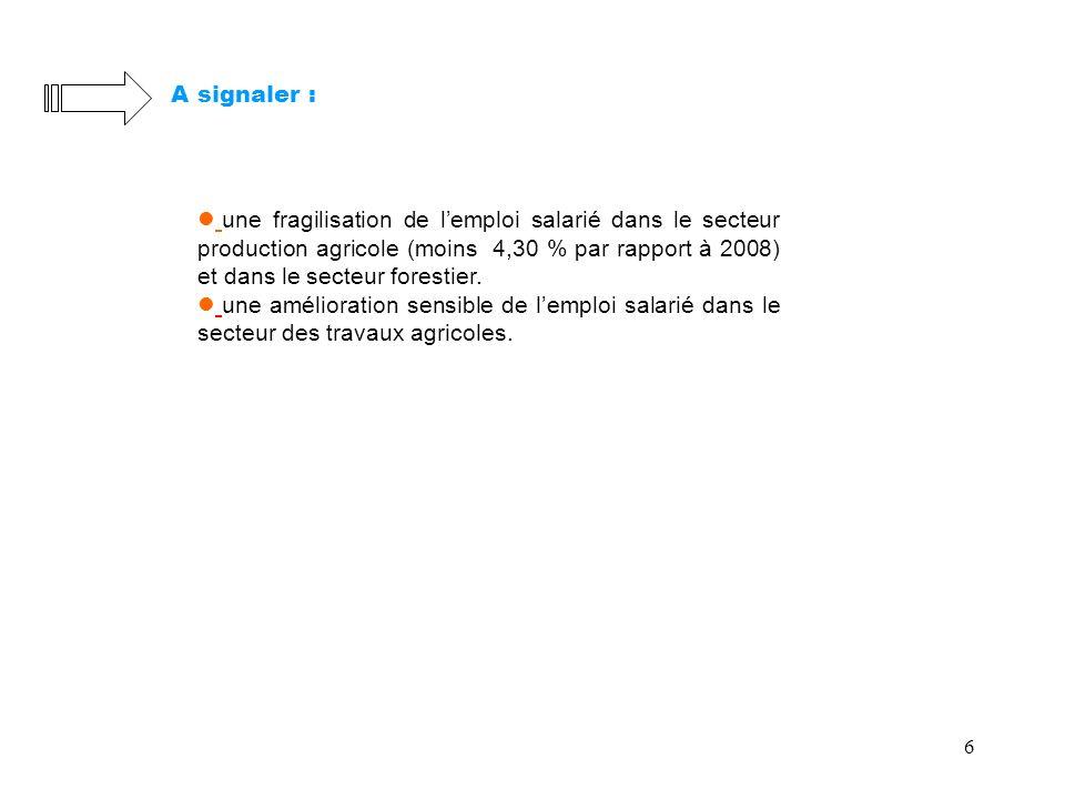 6 A signaler : une fragilisation de lemploi salarié dans le secteur production agricole (moins 4,30 % par rapport à 2008) et dans le secteur forestier.