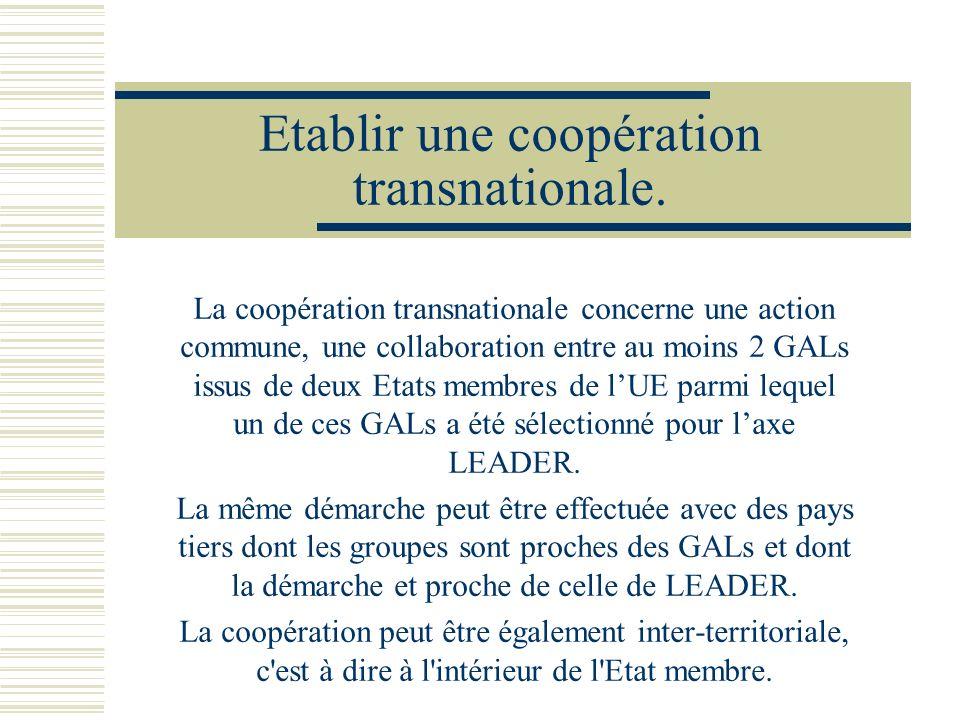Etablir une coopération transnationale.