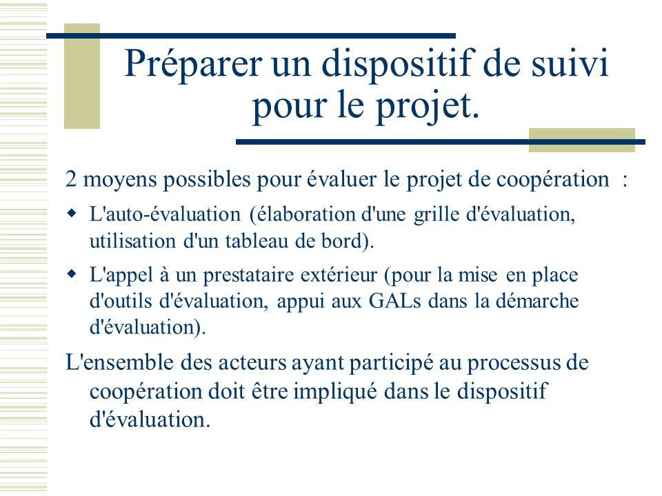 Préparer un dispositif de suivi pour le projet.