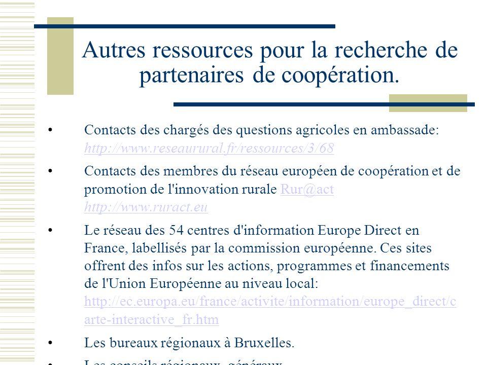 Autres ressources pour la recherche de partenaires de coopération.