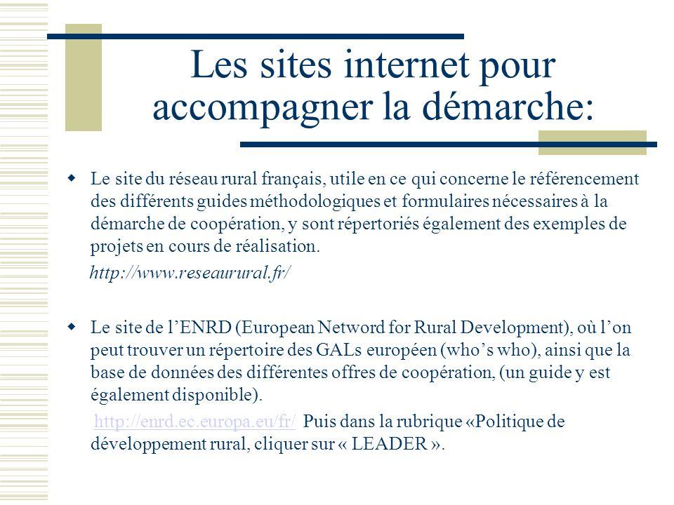 Les sites internet pour accompagner la démarche: Le site du réseau rural français, utile en ce qui concerne le référencement des différents guides méthodologiques et formulaires nécessaires à la démarche de coopération, y sont répertoriés également des exemples de projets en cours de réalisation.