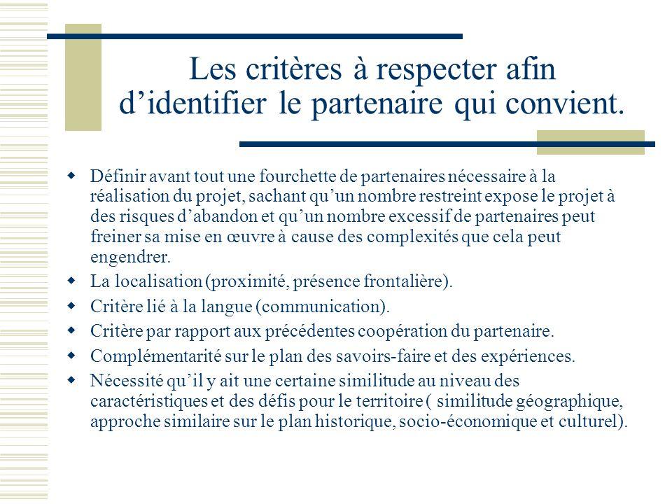 Les critères à respecter afin didentifier le partenaire qui convient.