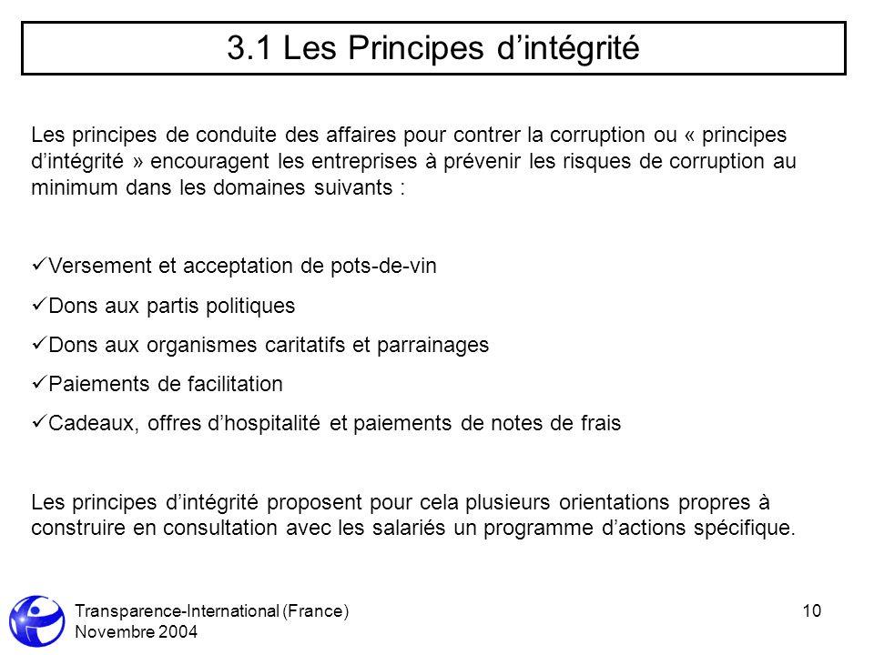 Transparence-International (France) Novembre 2004 10 3.1 Les Principes dintégrité Les principes de conduite des affaires pour contrer la corruption ou