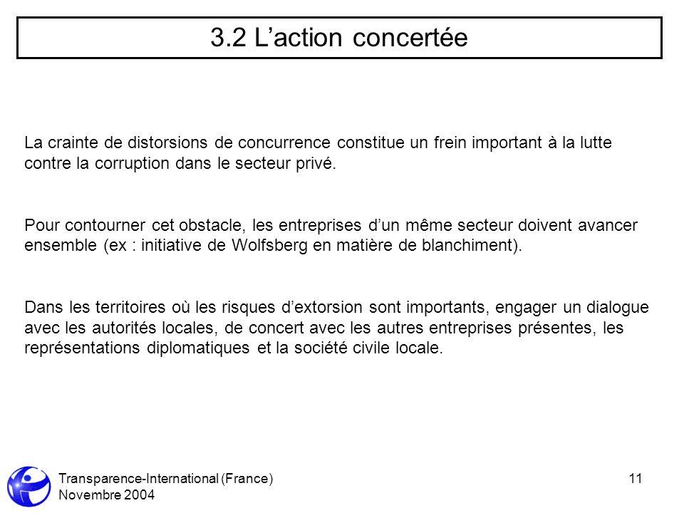 Transparence-International (France) Novembre 2004 11 3.2 Laction concertée La crainte de distorsions de concurrence constitue un frein important à la lutte contre la corruption dans le secteur privé.