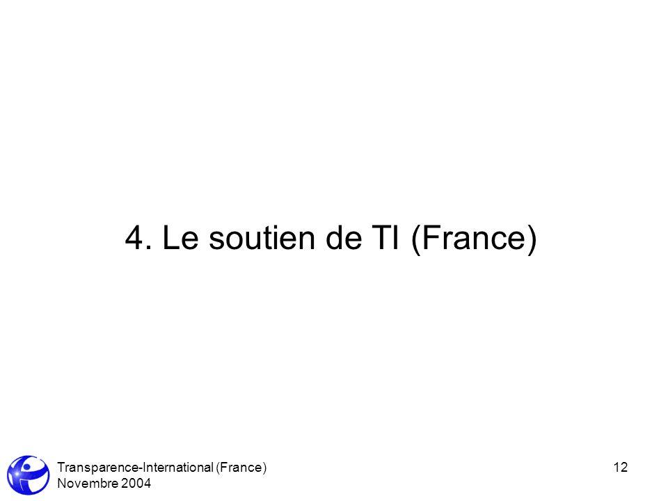 Transparence-International (France) Novembre 2004 12 4. Le soutien de TI (France)