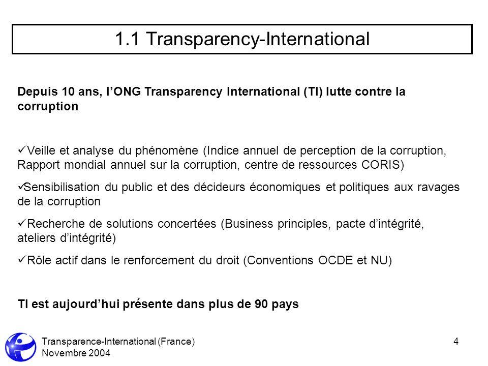 Transparence-International (France) Novembre 2004 4 1.1 Transparency-International Depuis 10 ans, lONG Transparency International (TI) lutte contre la