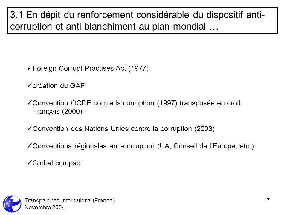 Transparence-International (France) Novembre 2004 7 3.1 En dépit du renforcement considérable du dispositif anti- corruption et anti-blanchiment au plan mondial … Foreign Corrupt Practises Act (1977) création du GAFI Convention OCDE contre la corruption (1997) transposée en droit français (2000) Convention des Nations Unies contre la corruption (2003) Conventions régionales anti-corruption (UA, Conseil de lEurope, etc.) Global compact