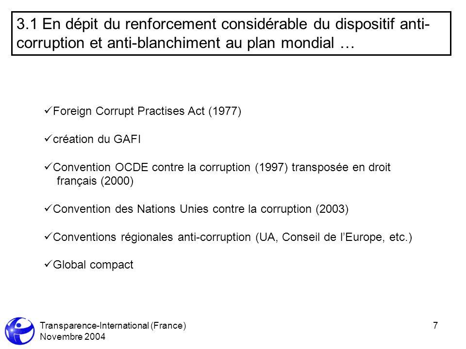 Transparence-International (France) Novembre 2004 7 3.1 En dépit du renforcement considérable du dispositif anti- corruption et anti-blanchiment au pl