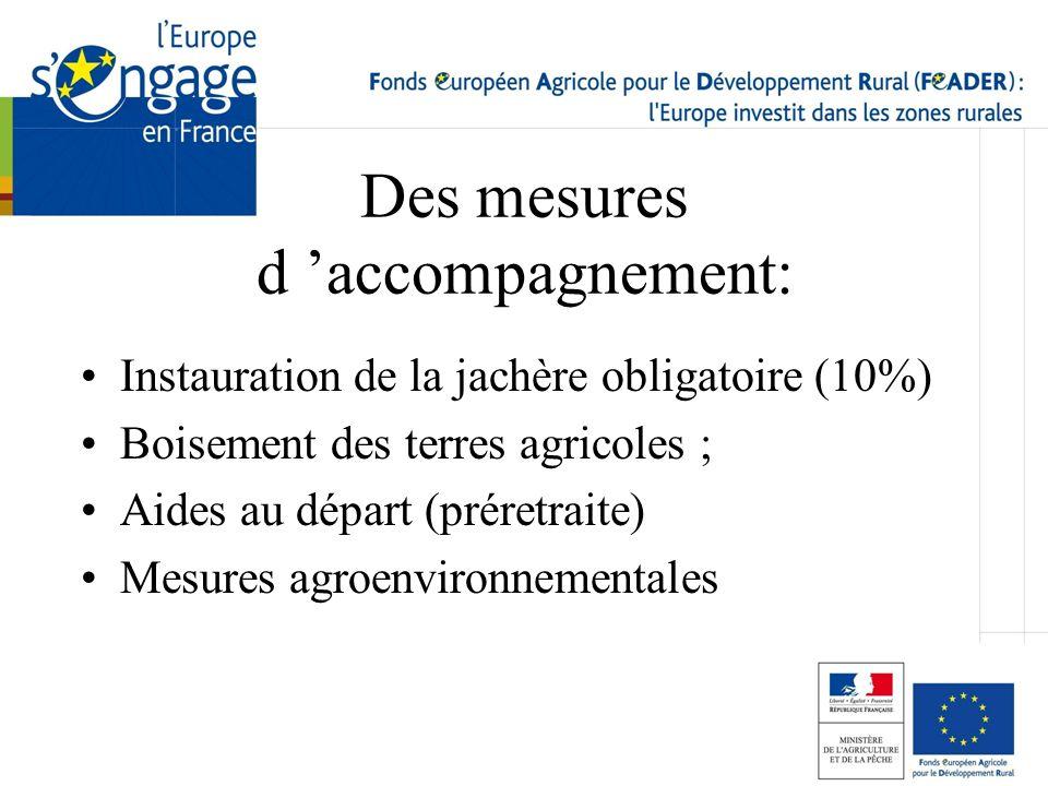 Des mesures d accompagnement: Instauration de la jachère obligatoire (10%) Boisement des terres agricoles ; Aides au départ (préretraite) Mesures agro