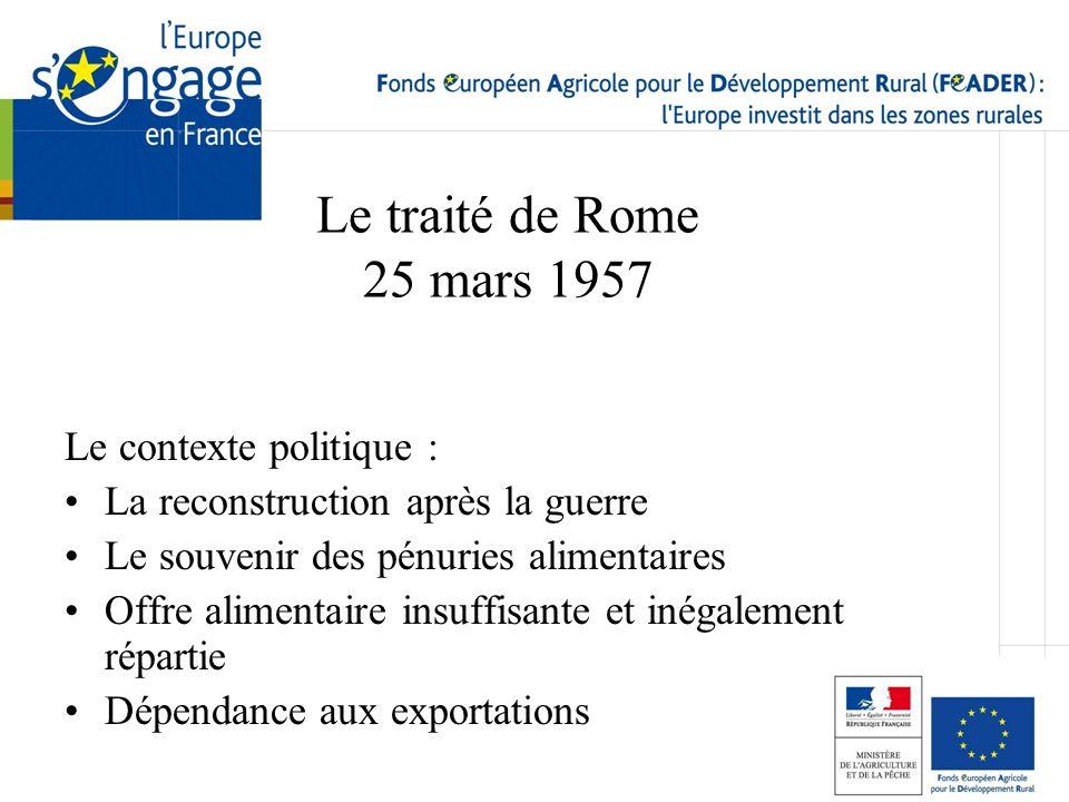 Le traité de Rome 25 mars 1957 Le contexte politique : La reconstruction après la guerre Le souvenir des pénuries alimentaires Offre alimentaire insuf