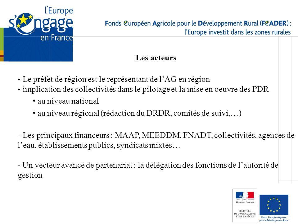 Les acteurs - Le préfet de région est le représentant de lAG en région - implication des collectivités dans le pilotage et la mise en oeuvre des PDR a