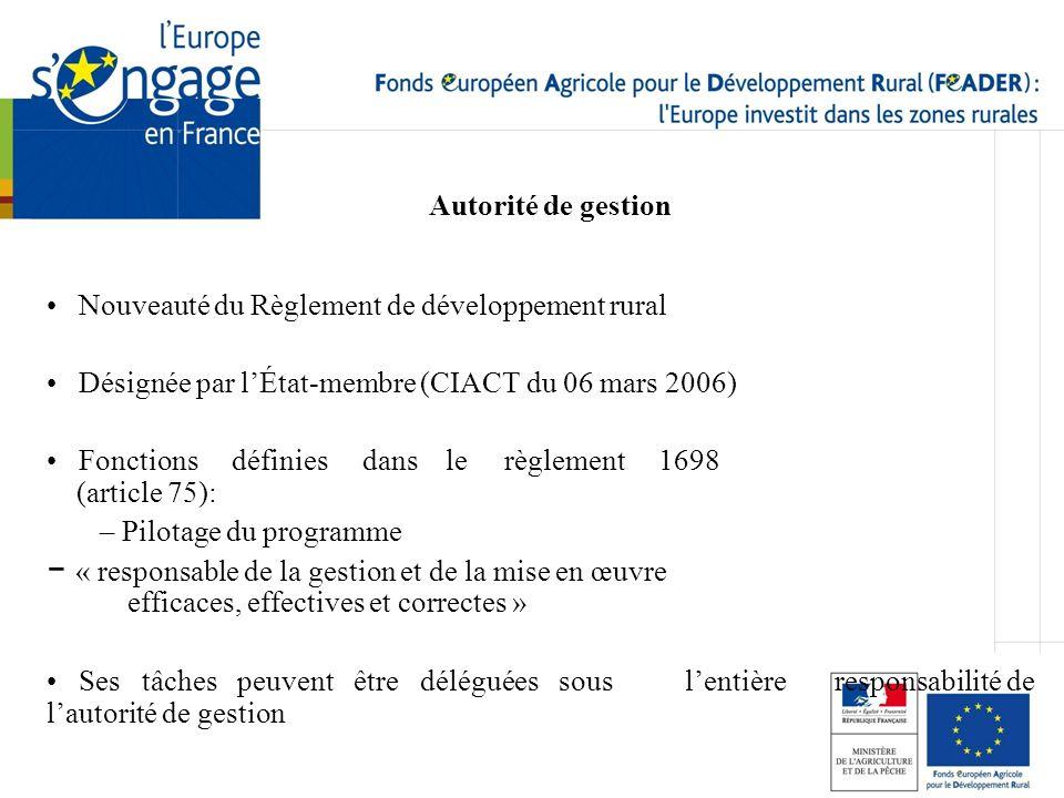 Autorité de gestion Nouveauté du Règlement de développement rural Désignée par lÉtat-membre (CIACT du 06 mars 2006) Fonctions définies dans le règleme