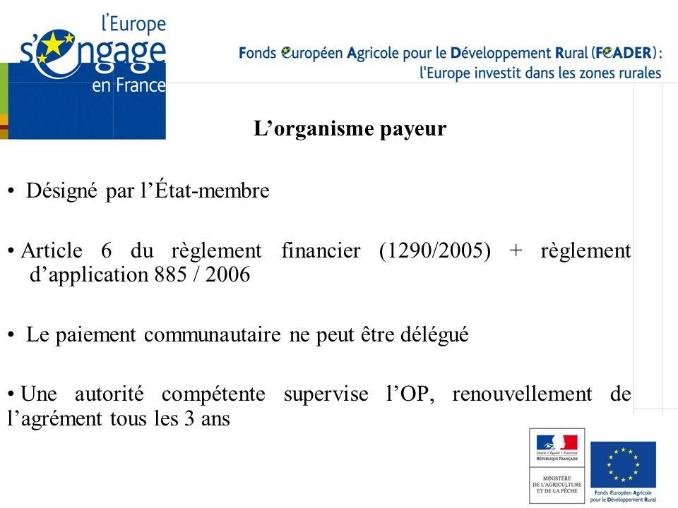 Désigné par lÉtat-membre Article 6 du règlement financier (1290/2005) + règlement dapplication 885 / 2006 Le paiement communautaire ne peut être délég
