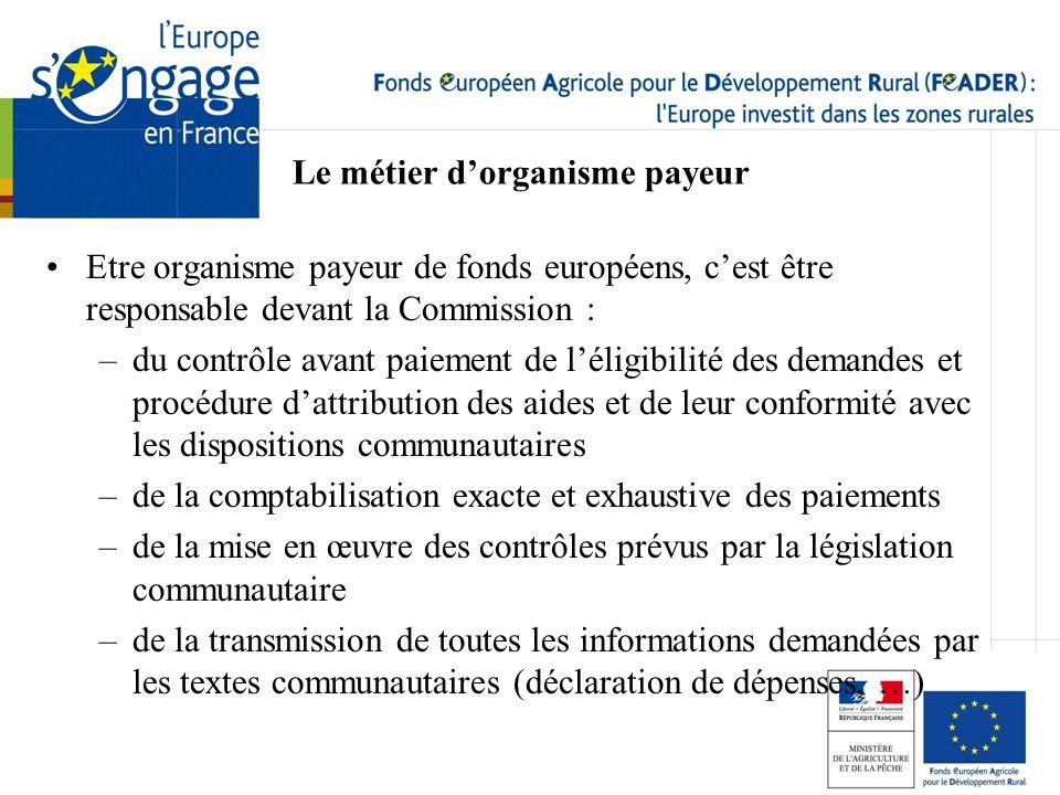 Etre organisme payeur de fonds européens, cest être responsable devant la Commission : –du contrôle avant paiement de léligibilité des demandes et pro