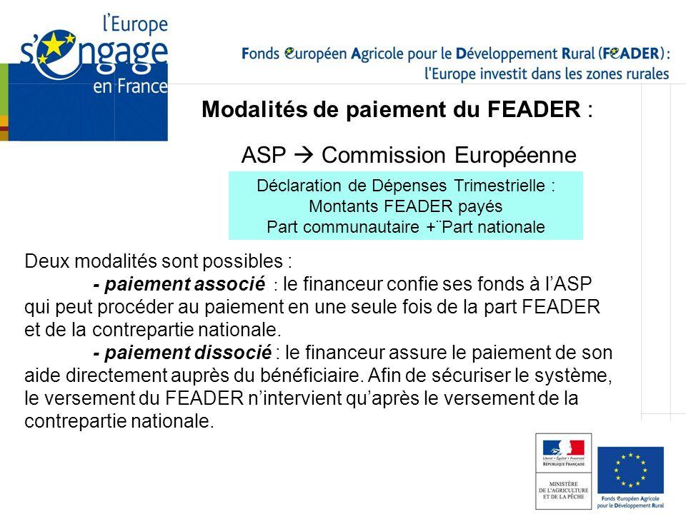 Modalités de paiement du FEADER : Deux modalités sont possibles : - paiement associé : le financeur confie ses fonds à lASP qui peut procéder au paiem