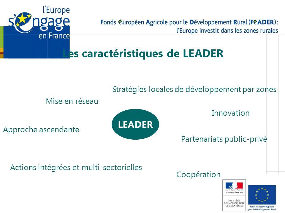Les caractéristiques de LEADER LEADER Stratégies locales de développement par zones Approche ascendante Partenariats public-privé Innovation Actions i