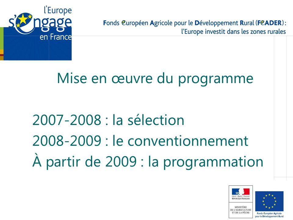 Mise en œuvre du programme 2007-2008 : la sélection 2008-2009 : le conventionnement À partir de 2009 : la programmation