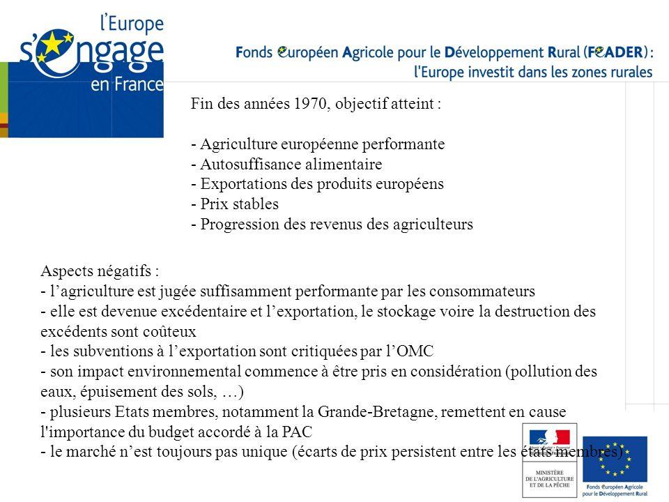 Fin des années 1970, objectif atteint : - Agriculture européenne performante - Autosuffisance alimentaire - Exportations des produits européens - Prix