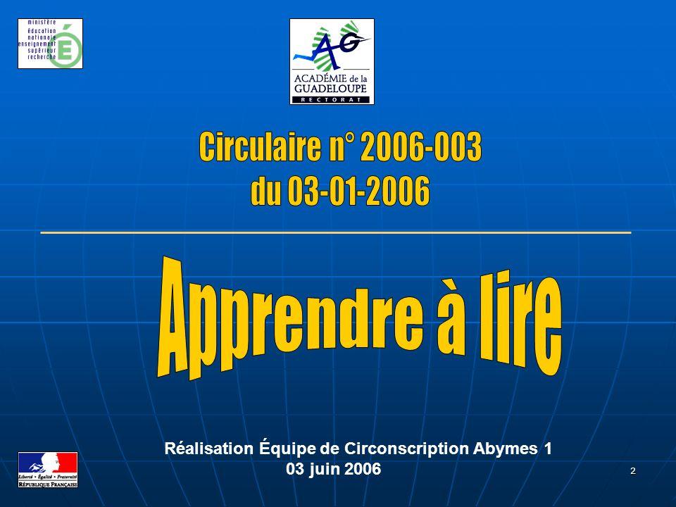 2 Réalisation Équipe de Circonscription Abymes 1 03 juin 2006