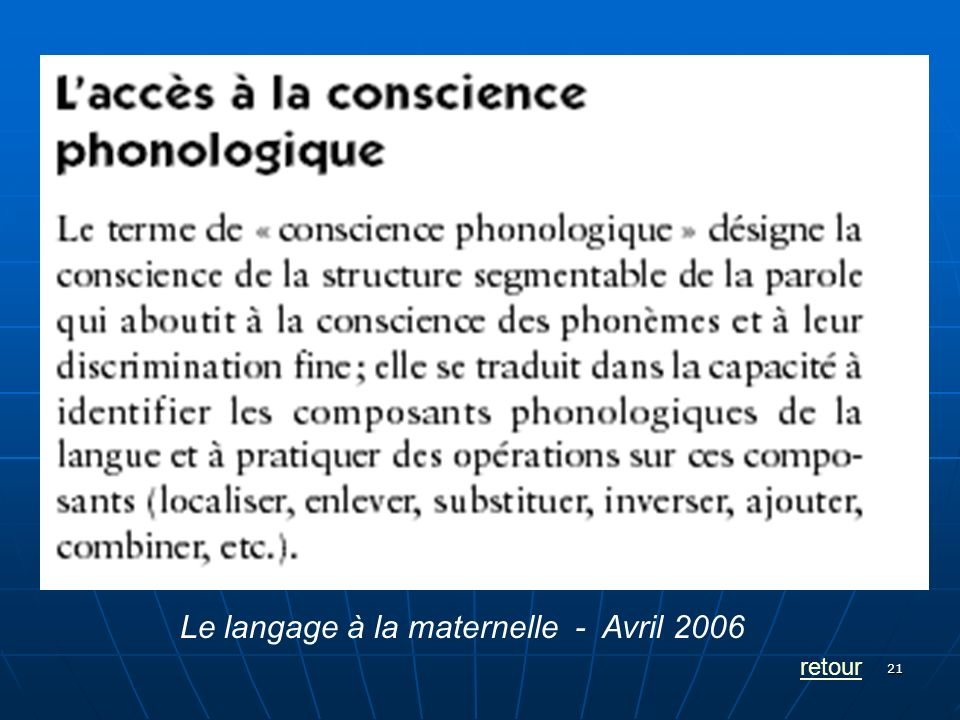 21 retour Le langage à la maternelle - Avril 2006