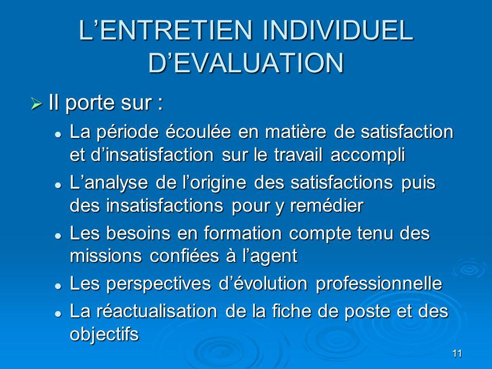 11 LENTRETIEN INDIVIDUEL DEVALUATION Il porte sur : Il porte sur : La période écoulée en matière de satisfaction et dinsatisfaction sur le travail acc