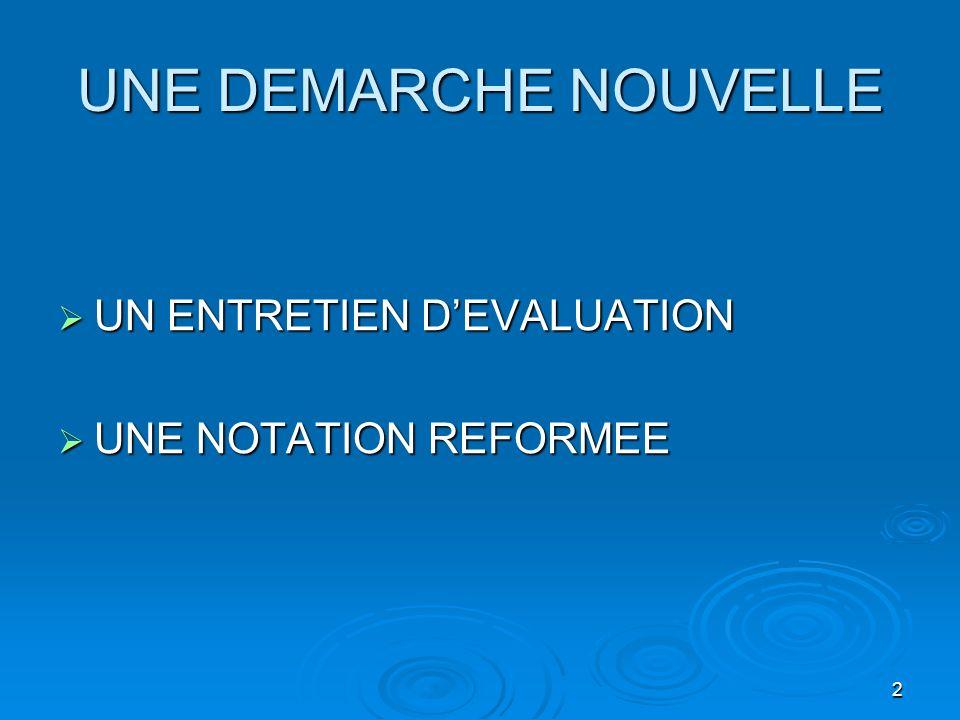 2 UNE DEMARCHE NOUVELLE UN ENTRETIEN DEVALUATION UN ENTRETIEN DEVALUATION UNE NOTATION REFORMEE UNE NOTATION REFORMEE