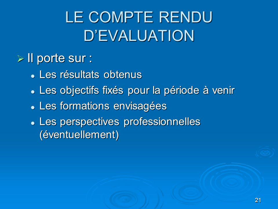 21 LE COMPTE RENDU DEVALUATION Il porte sur : Il porte sur : Les résultats obtenus Les résultats obtenus Les objectifs fixés pour la période à venir L