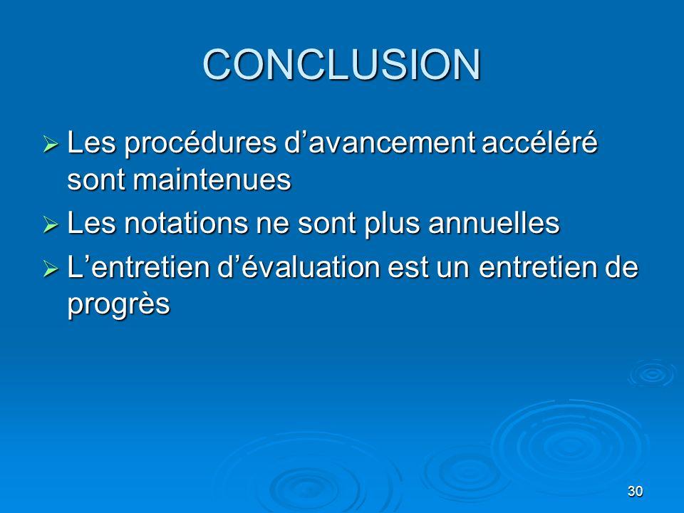 30 CONCLUSION Les procédures davancement accéléré sont maintenues Les procédures davancement accéléré sont maintenues Les notations ne sont plus annue